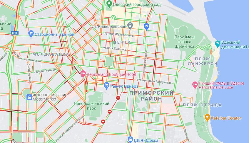 Ситуация на дорогах Одессы утром 2 февраля. Карта: GoogleMap