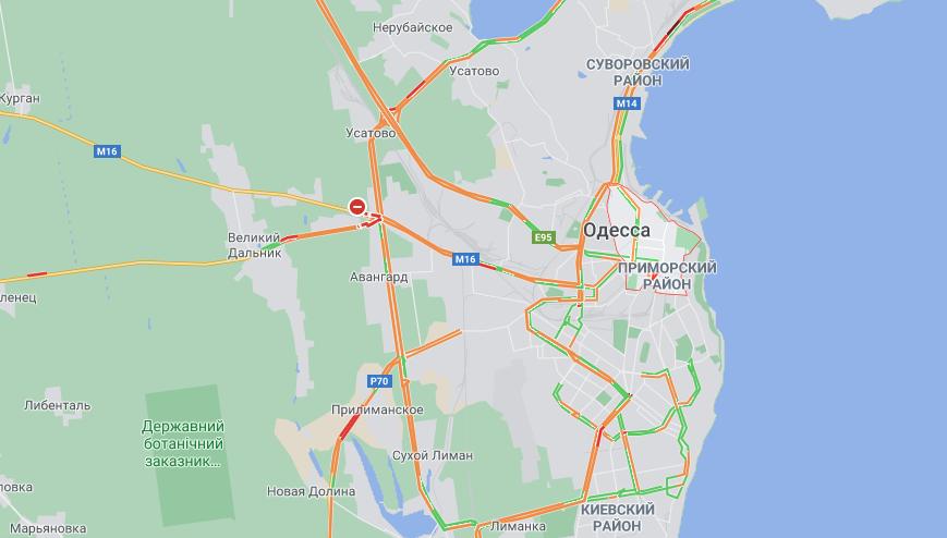 Снежная буря не прекращается: какая ситуация на дорогах Одессы. Карта: Google Map