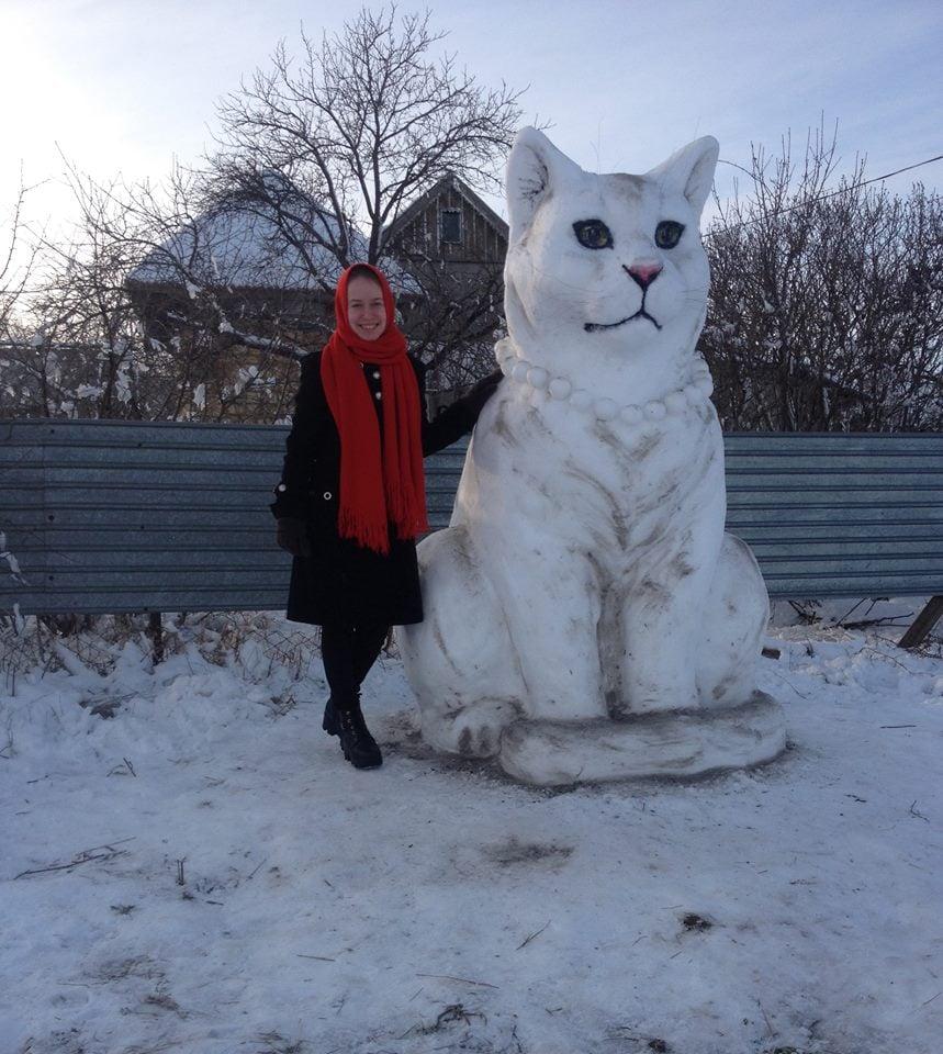Полюбуйся: под Одессой из снега слепили пятиметрового тигра. Фото: Владимир Петрушев