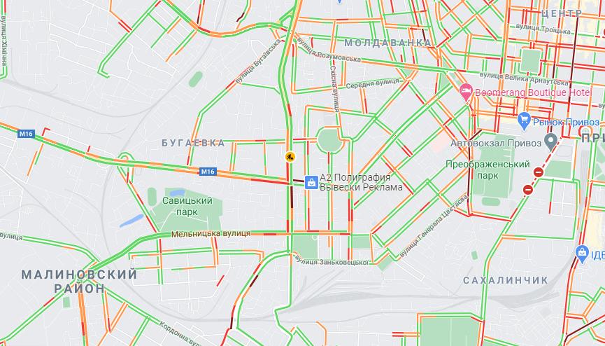 Планируй маршрут: в каких районах Одессы образовались пробки. Карта: GoogleMap