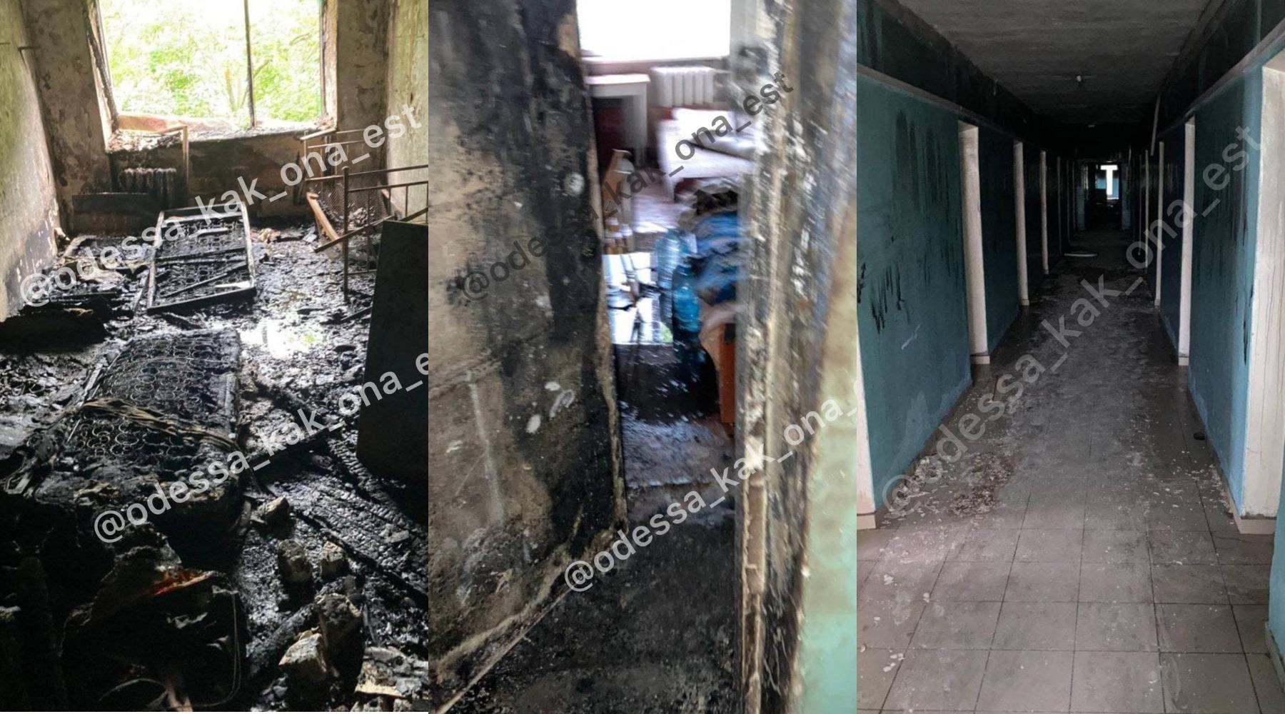 """Пожар в общежитии Медина: как выглядит сгоревшая комната и в каком состоянии пострадавший. Фото: телеграм-канал """"Одесса как она есть"""""""