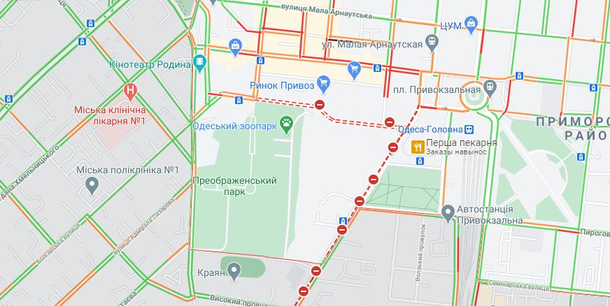 Пробки в Одессе из-за ремонта Новощепного ряда. Карта: GoogleMap