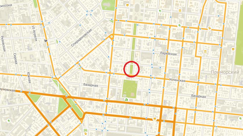 В центре Одессы перекрыли часть Александровского проспекта. Карта: 2ГИС