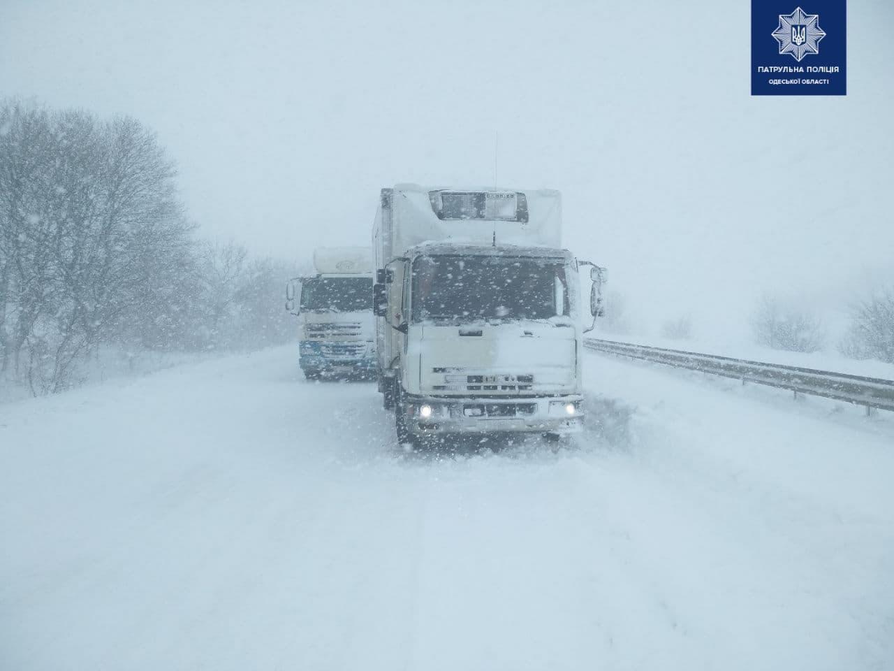 Второй день снегопада в Одессе: хроника событий . Фото: патрульная полиция
