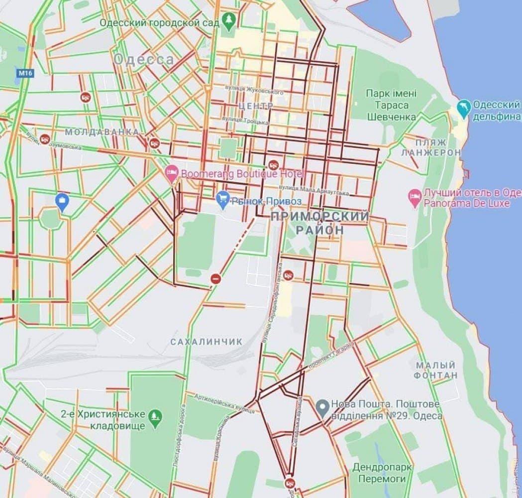 Ситуация на дорогах Одессы вечером 1 февраля. Карта: GoogleMap