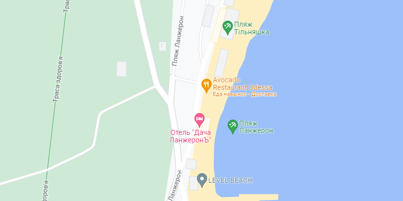 Район пляжа, где установили разделительные столбики. Карта: Google