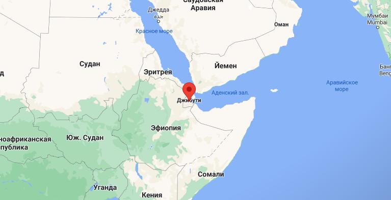 Страна Джибуте, около которой застряло судно с одесситам на борту. Карта: Google