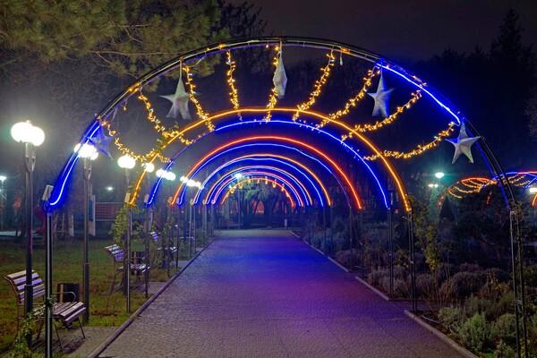 Полюбуйся ночными огнями: одесский парк украсили к Новому году фото 12